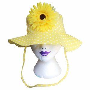 vintage yellow polkadot sunflower cloth sun hat
